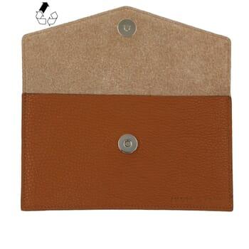vue dessus pochette enveloppe cuir grainé upcyclé camel jules & jenn