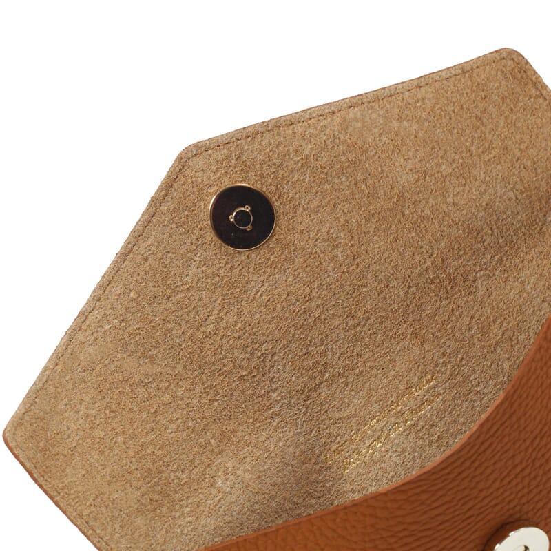 vue intérieur pochette enveloppe cuir grainé upcyclé camel jules & jenn