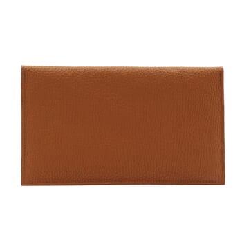 vue arrière pochette enveloppe cuir grainé upcyclé camel jules & jenn