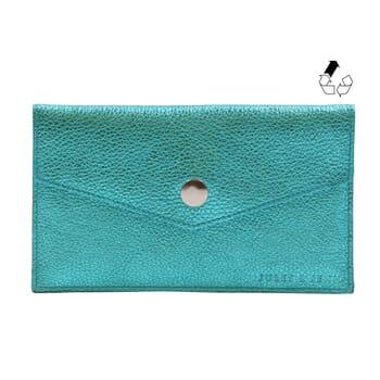 pochette enveloppe cuir métallisé bleu upcyclé jules & jenn