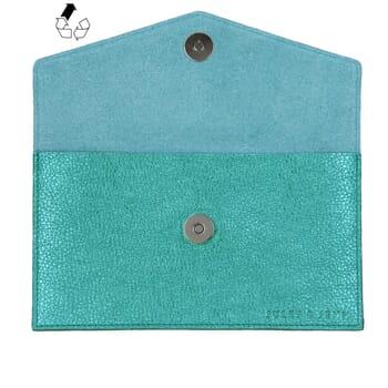 vue intérieur pochette enveloppe cuir upcyclé bleu métallisé jules & jenn
