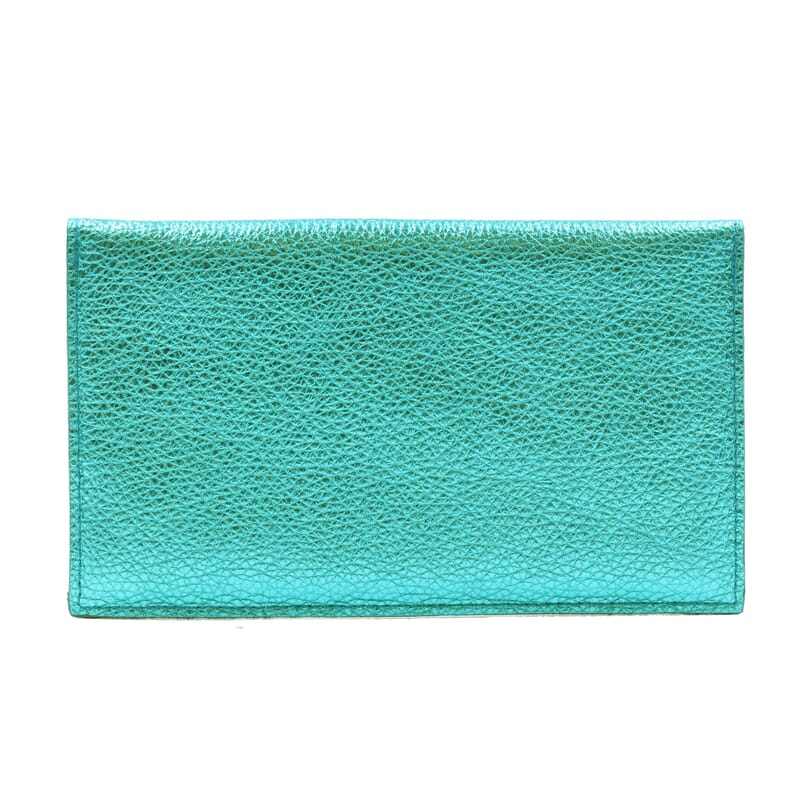 vue arrière pochette enveloppe cuir upcyclé bleu métallisé jules & jenn