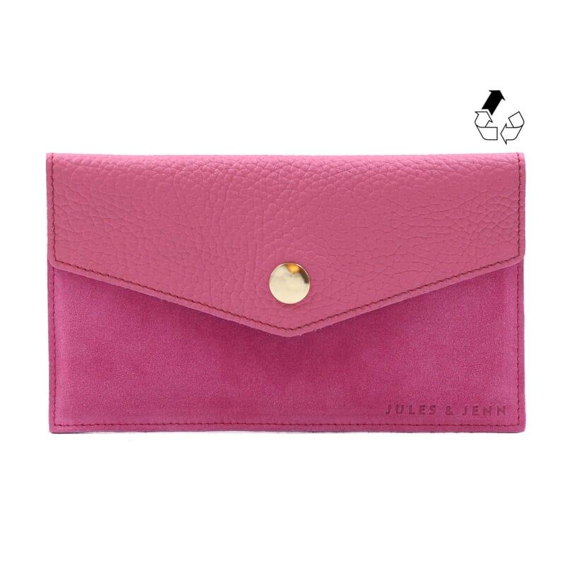 pochette enveloppe cuir upcyclé rose jules & jenn