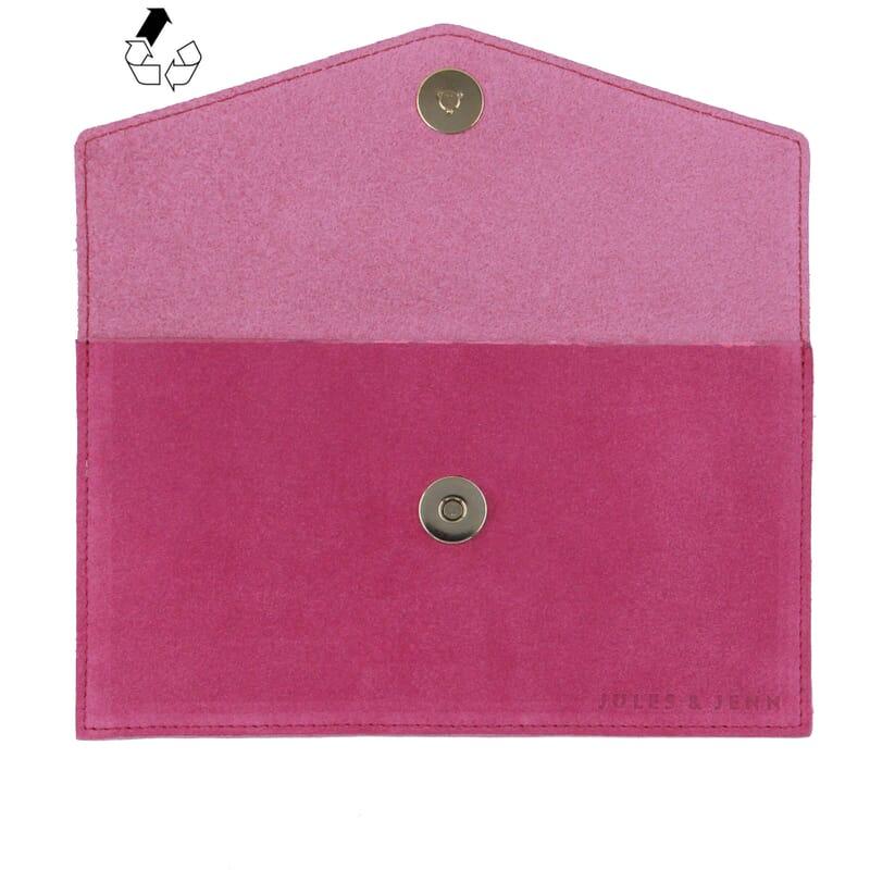 vue dessus pochette enveloppe cuir upcyclé rose jules & jenn