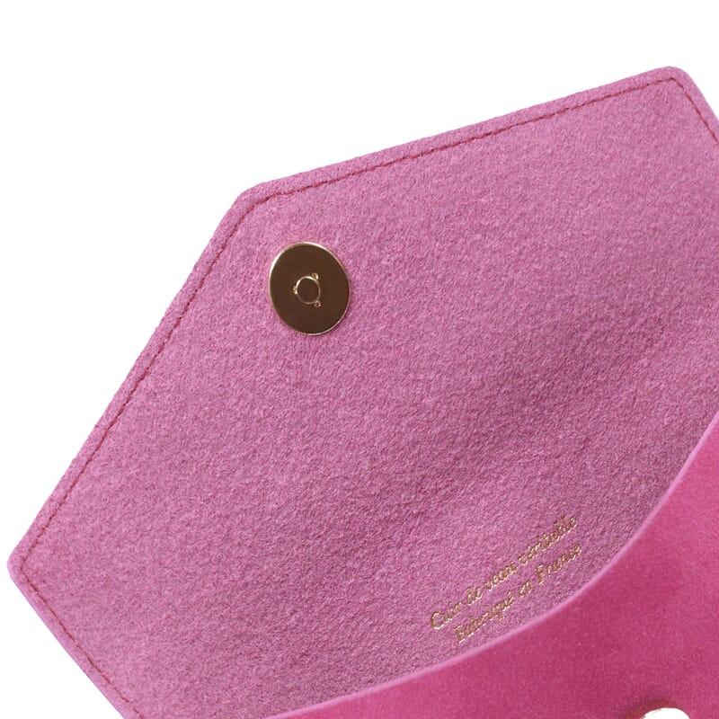 vue intérieur pochette enveloppe cuir upcyclé rose jules & jenn