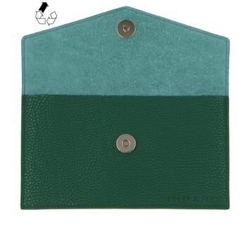 pochette enveloppe cuir grainé upcyclé vert jules & jenn