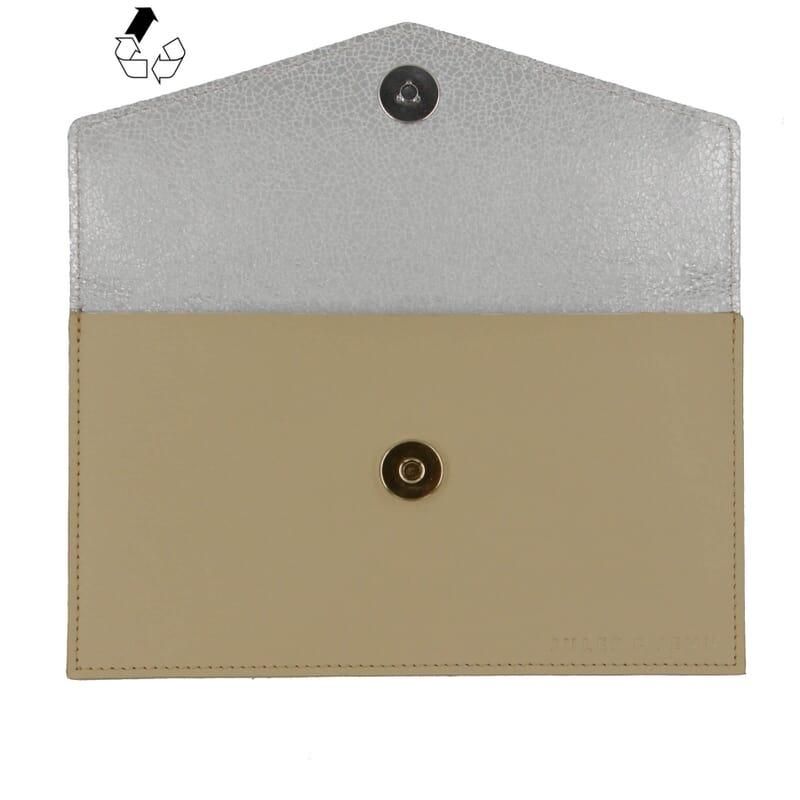 vue dessus pochette enveloppe cuir upcyclé beige jules & jenn