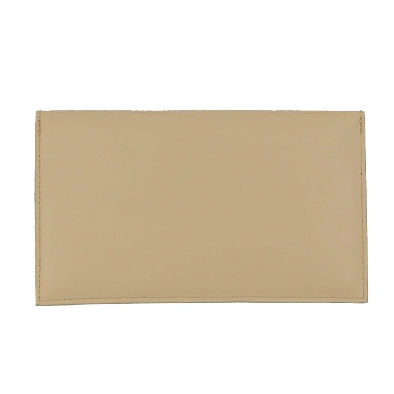 vue arrière pochette enveloppe cuir upcyclé beige jules & jenn