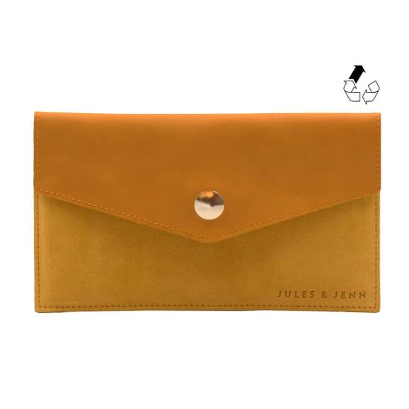 Porte-cartes cuir upcyclé moutarde