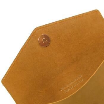 vue intérieur pochette enveloppe cuir upcyclé moutarde jules & jenn