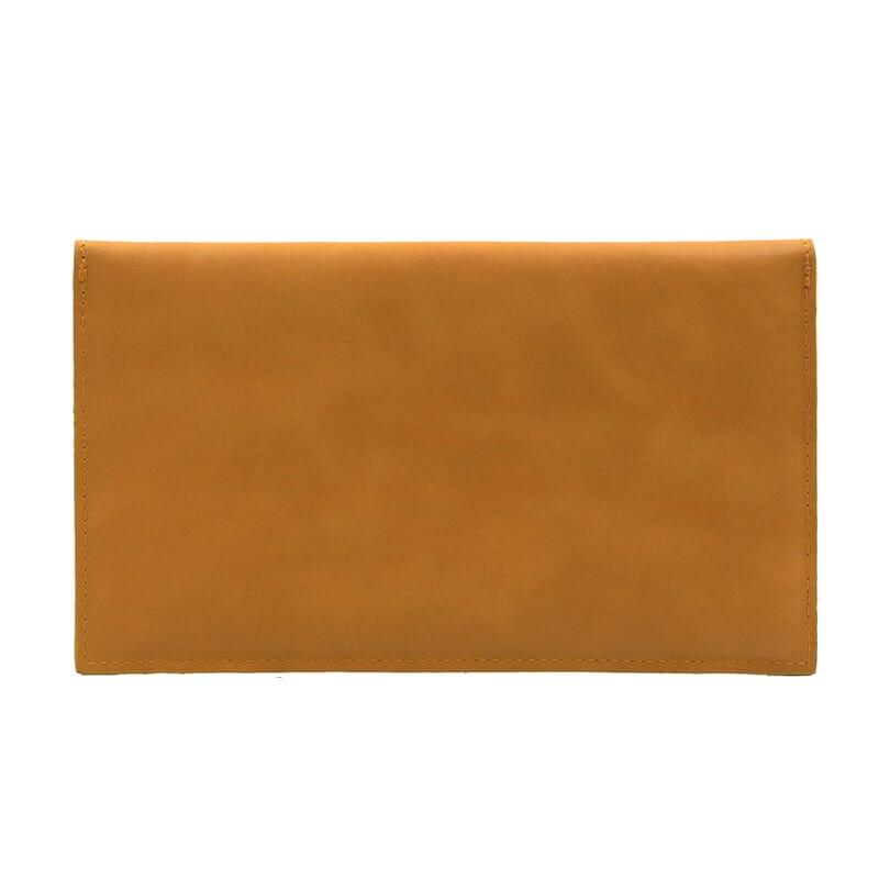 vue arrière pochette enveloppe cuir upcyclé moutarde jules & jenn