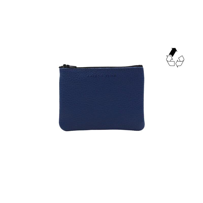 pochette cuir grainé upcyclé bleu royal petit modèle jules & jenn