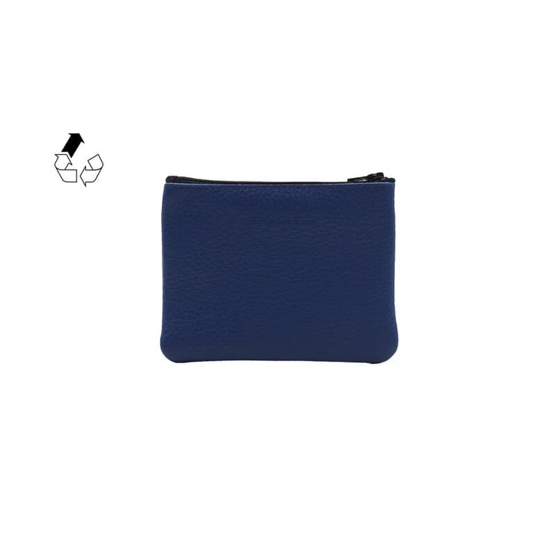 vue arrière pochette cuir grainé upcyclé bleu royal petit modèle jules & jenn