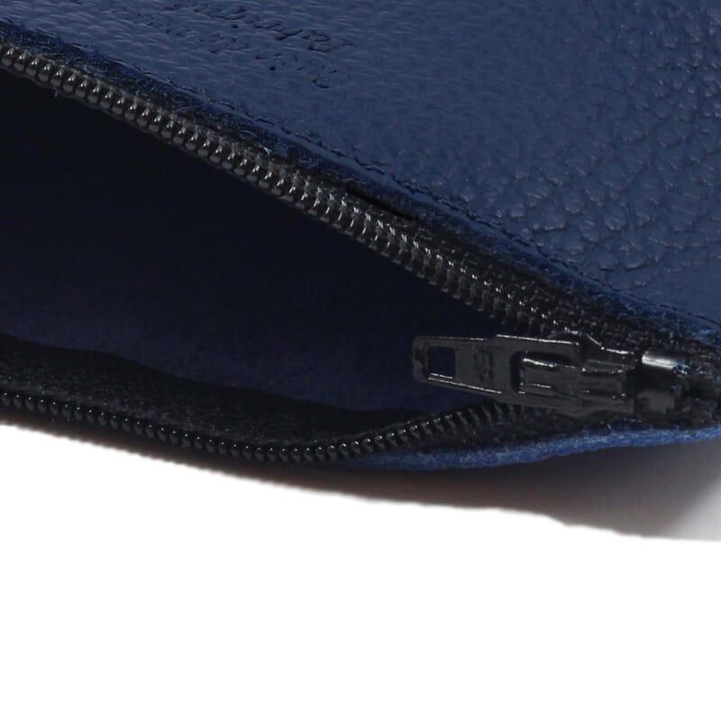 vue intérieure pochette cuir grainé upcyclé bleu royal petit modèle jules & jenn