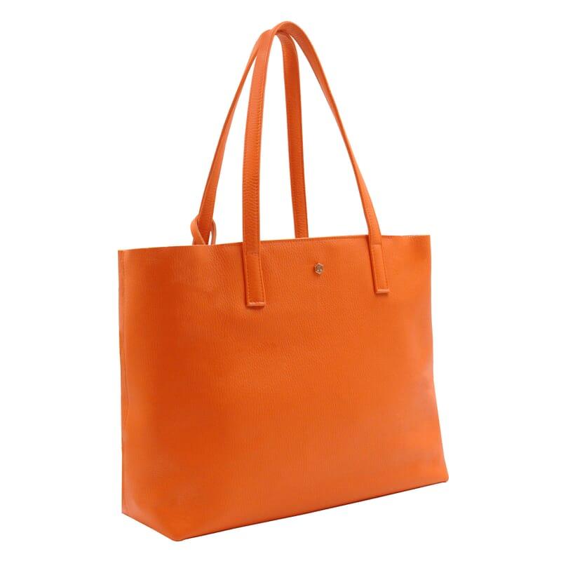 vue cote sac cabas cuir souple graine orange jules & jenn