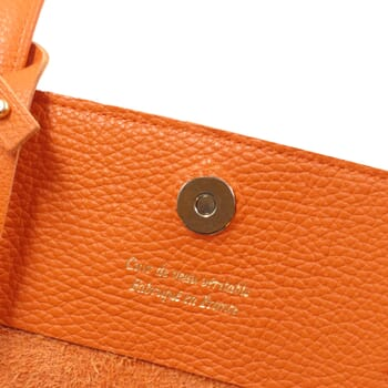 vue interieur sac cabas cuir souple graine orange jules & jenn
