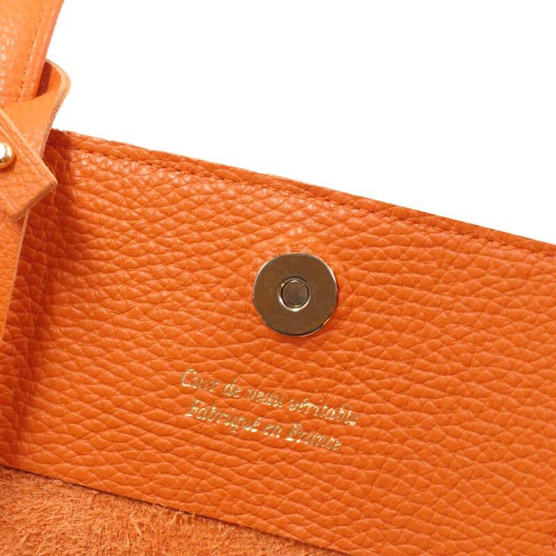 vue interieur sac cabas cuir souple graine orange jules & jenn