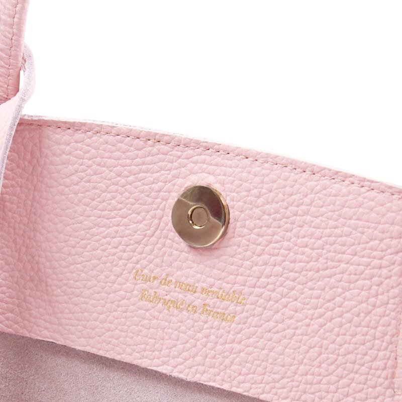vue interieur sac cabas cuir souple graine rose jules & jenn