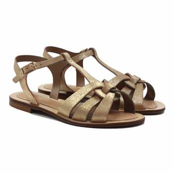 sandales croisees cuir daim metallise dore jules & jenn
