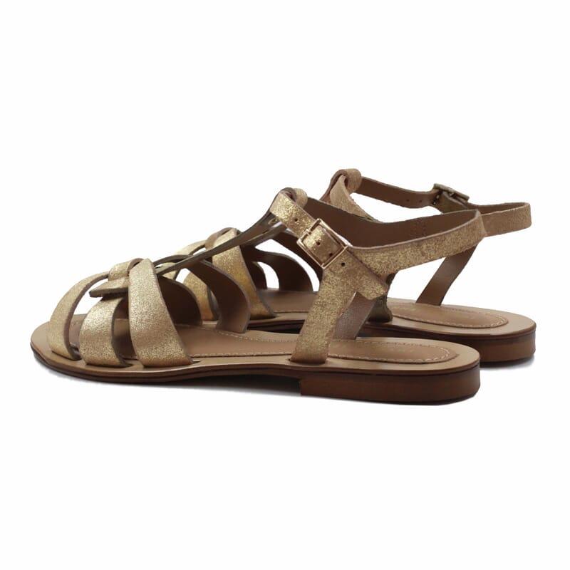 vue arriere sandales croisees cuir daim metallise dore jules & jenn