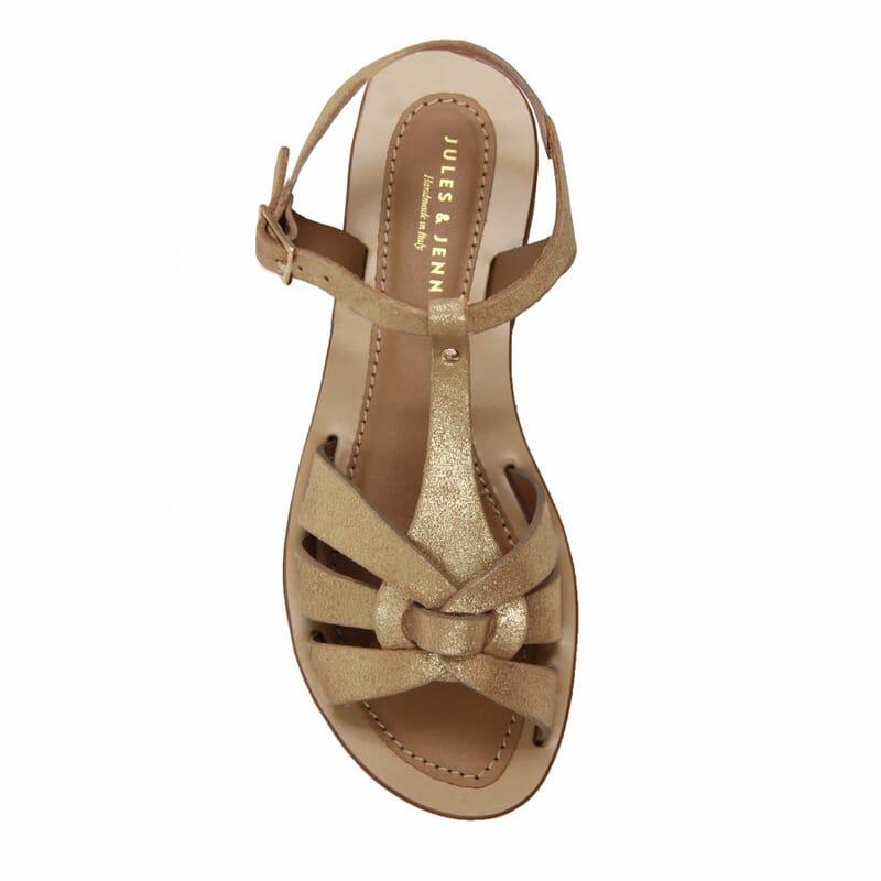 vue dessus sandales croisees cuir daim metallise dore jules & jenn