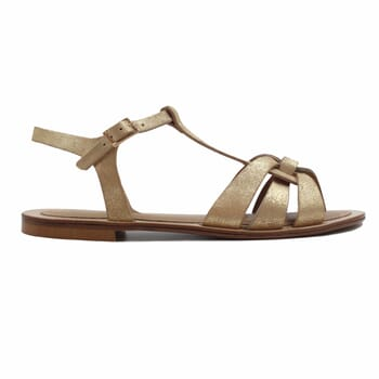 vue exterieur sandales croisees cuir daim metallise dore jules & jenn