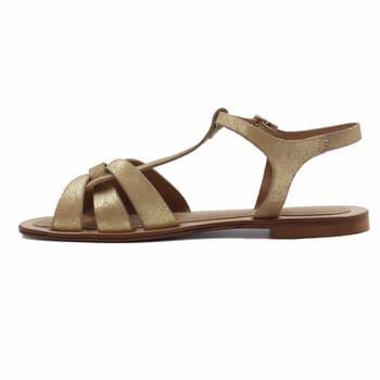 vue interieur sandales croisees cuir daim metallise dore jules & jenn