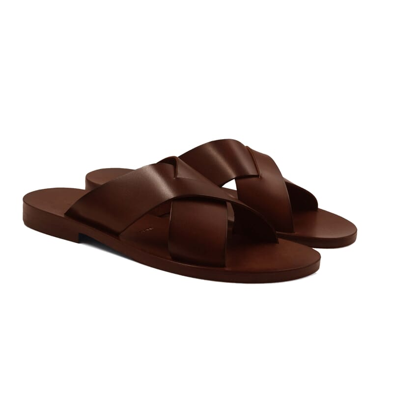 sandales croisees homme cuir marron jules & jenn