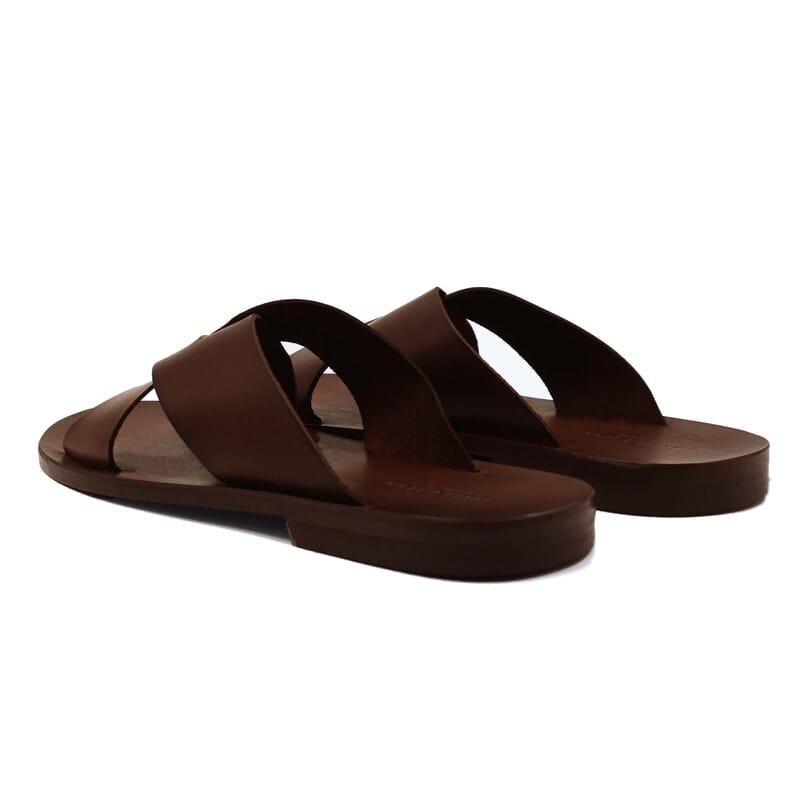vue arriere sandales croisees homme cuir marron jules & jenn