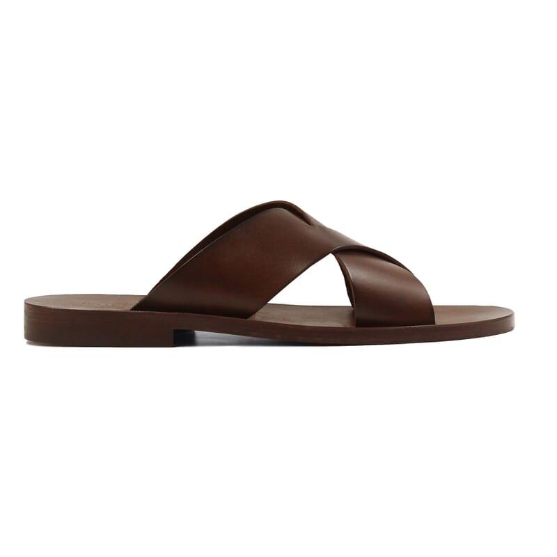 vue exterieur sandales croisees homme cuir marron jules & jenn