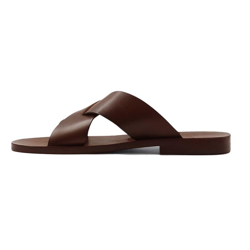 vue interieur sandales croisees homme cuir marron jules & jenn
