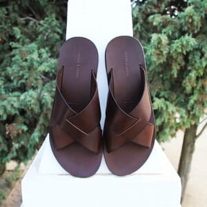 vue posee sandales croisees homme cuir marron jules & jenn