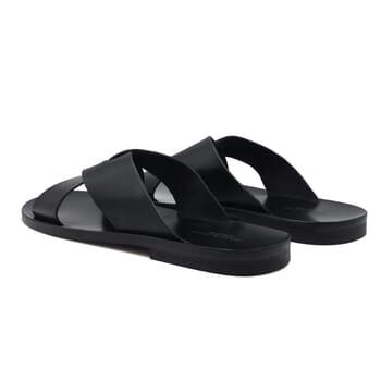 vue arriere sandales croisees homme cuir noir jules & jenn