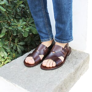 vue portee sandales homme cuir marron jules & jenn