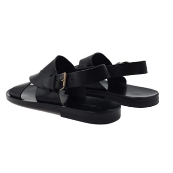 vue arriere sandales homme cuir noir jules & jenn