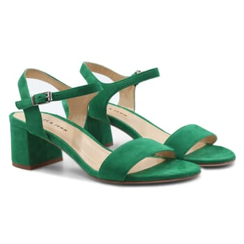 sandales moyen talon cuir daim vert jules & jenn