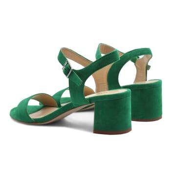 vue arriere sandales moyen talon cuir daim vert jules & jenn