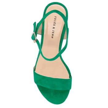 vue dessus sandales moyen talon cuir daim vert jules & jenn