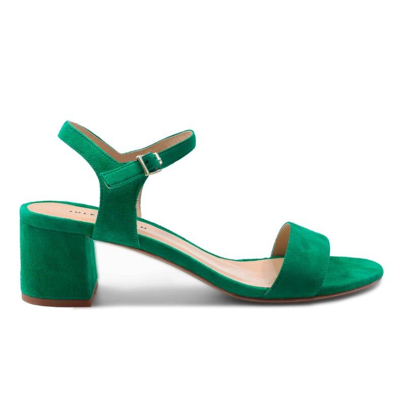 vue exterieur sandales moyen talon cuir daim vert jules & jenn