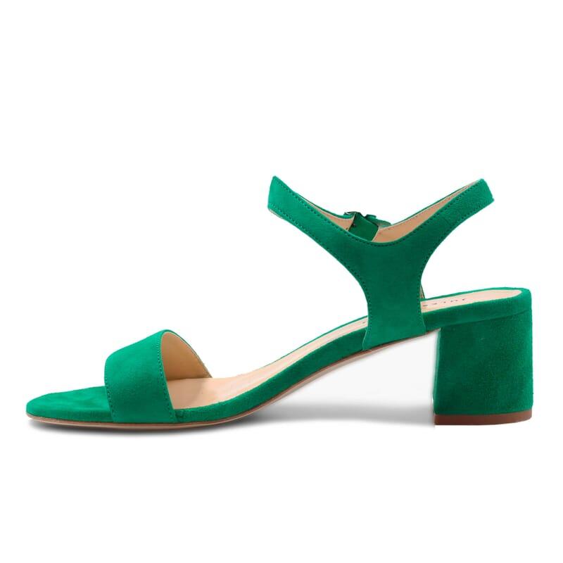 vue interieur sandales moyen talon cuir daim vert jules & jenn