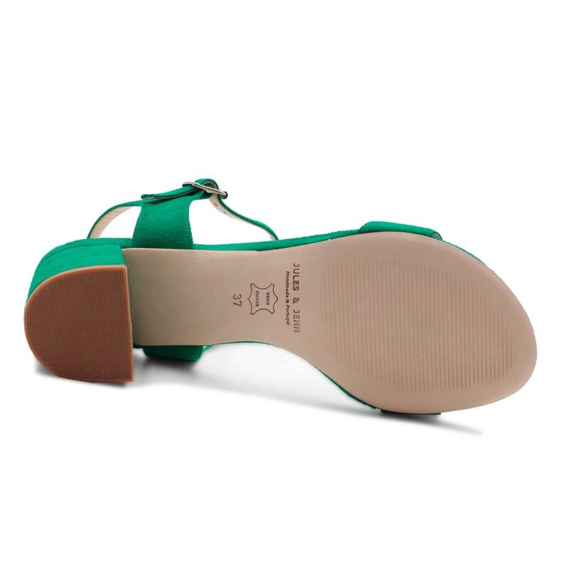 vue dessous sandales moyen talon cuir daim vert jules & jenn