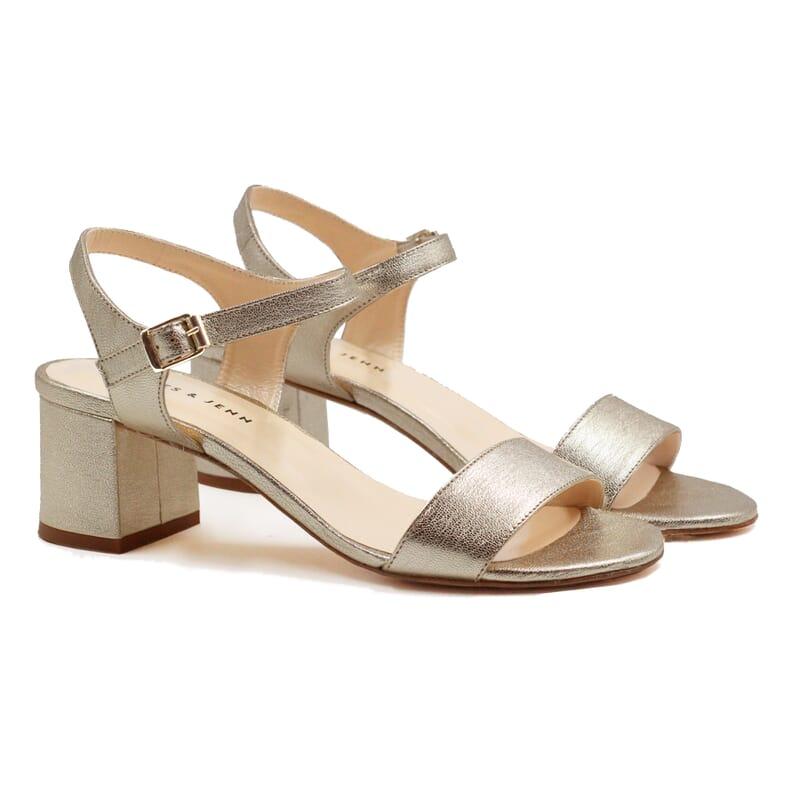 sandales moyen talon cuir metallise dore jules & jenn