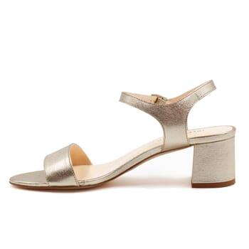 vue interieur sandales moyen talon cuir metallise dore jules & jenn