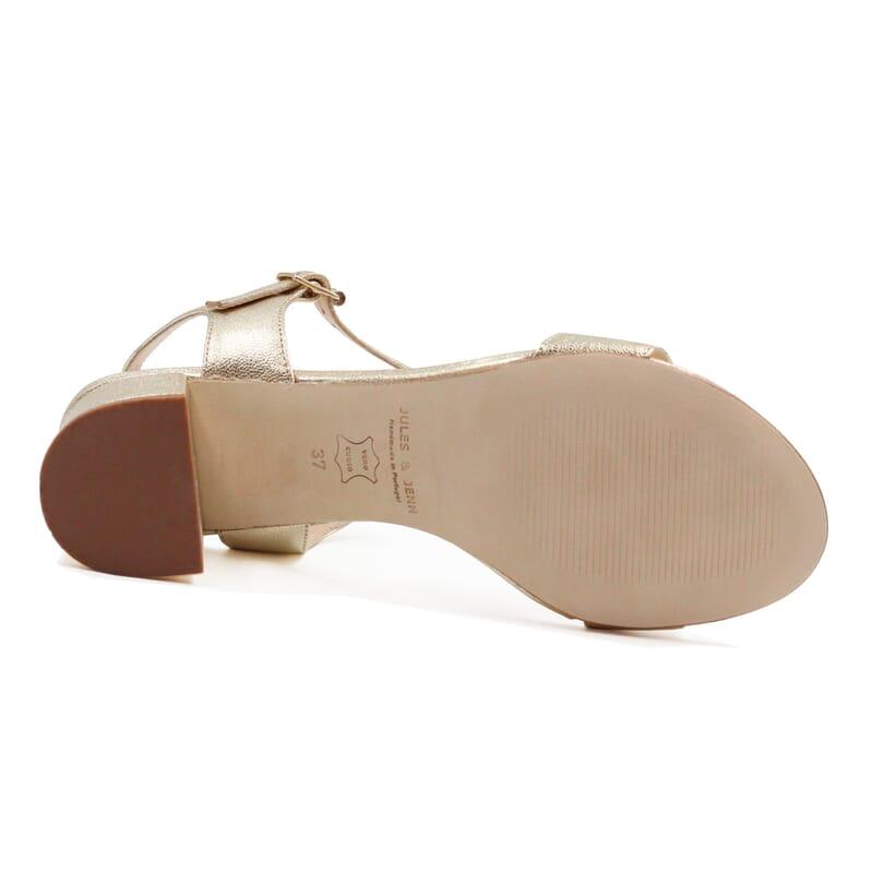 vue dessous sandales moyen talon cuir metallise dore jules & jenn