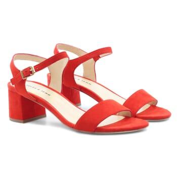 sandales moyen talon cuir velours rouge jules & jenn