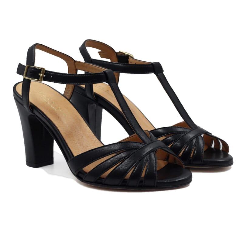sandales talon brides cuir noir jules & jenn
