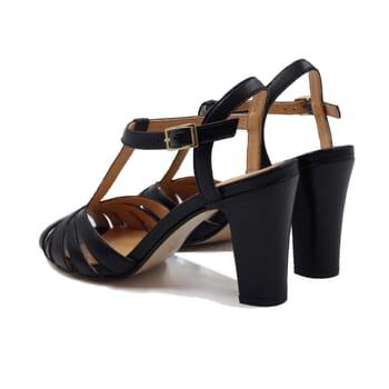 vue arriere sandales talon brides cuir noir jules & jenn