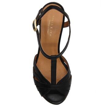 vue dessus sandales talon brides cuir noir jules & jenn