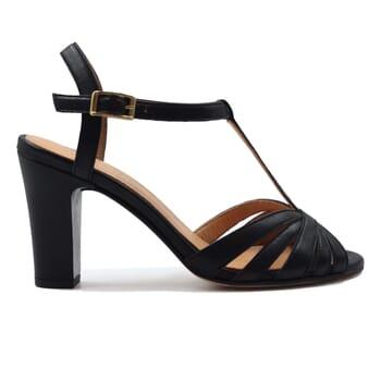 vue exterieur sandales talon brides cuir noir jules & jenn