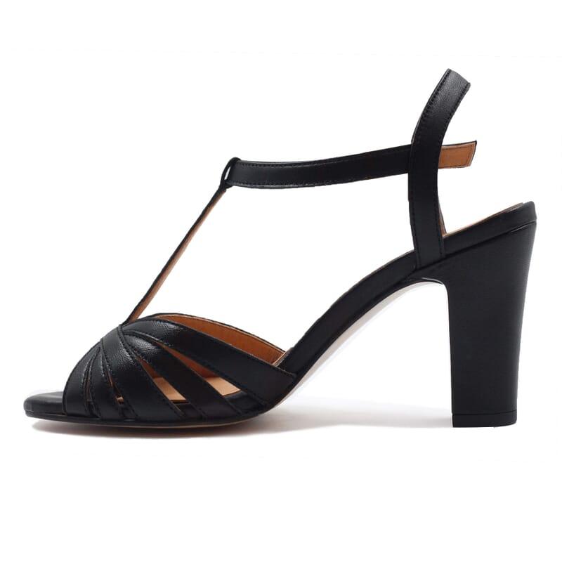 vue interieur sandales talon brides cuir noir jules & jenn
